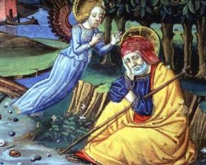 ALI142914 Fol.37v An angel tells Joseph that Mary is with child (vellum) by Italian School, (15th century) vellum Biblioteca Reale, Turin, Italy Alinari Italian, out of copyright